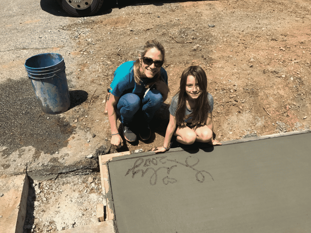 Mother and Daughter with Concrete