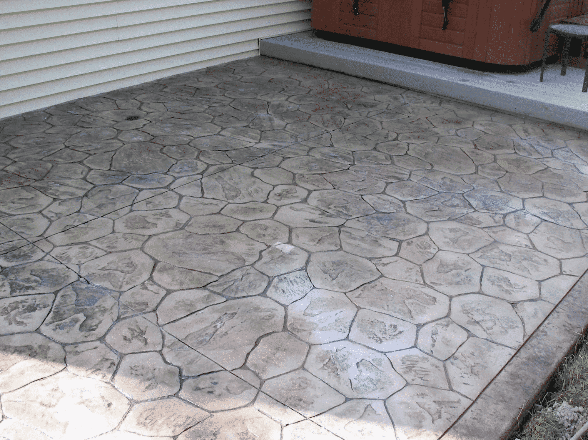 Stamped Concrete near hot tub