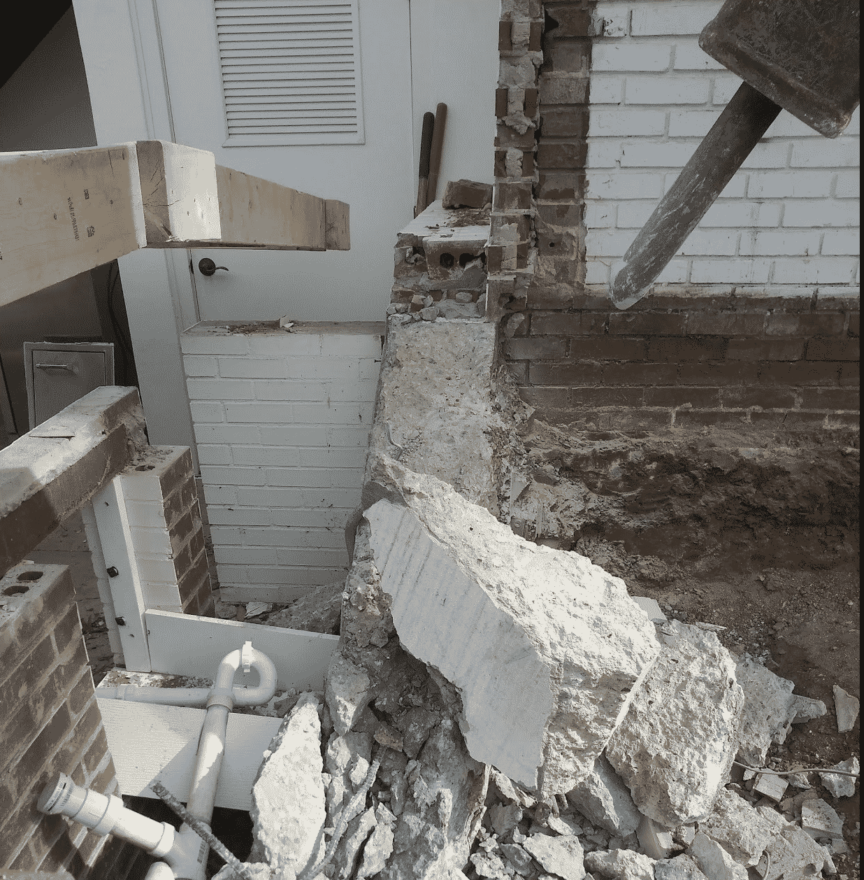 Concrete Foundation Demolition Shot