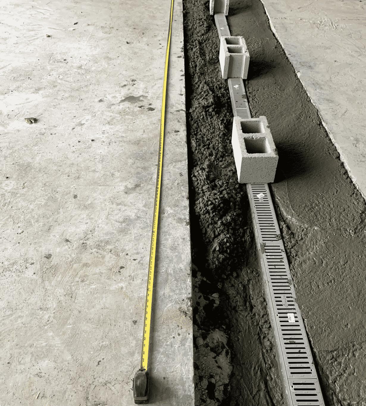 Drainage Installation with Cinder Blocks