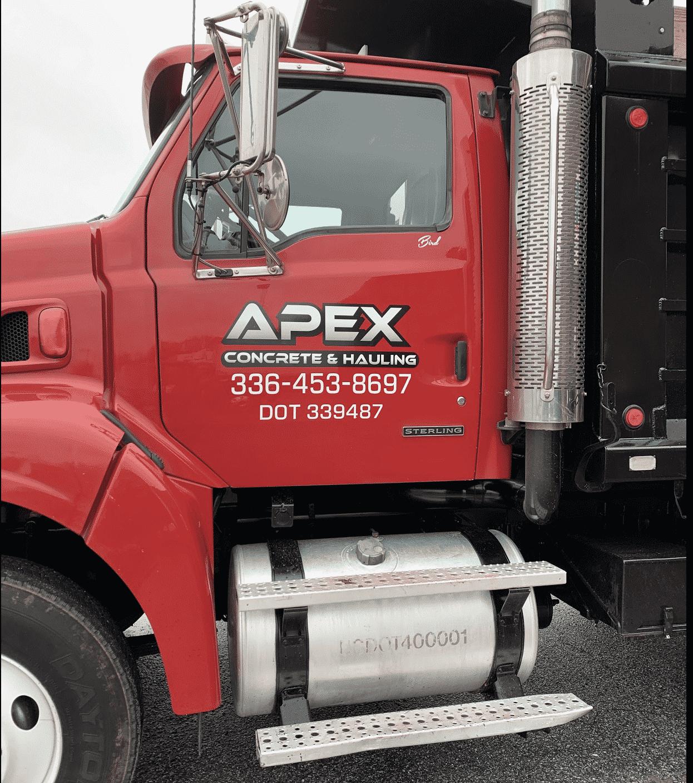 Apex Concrete & Hauling Red Truck