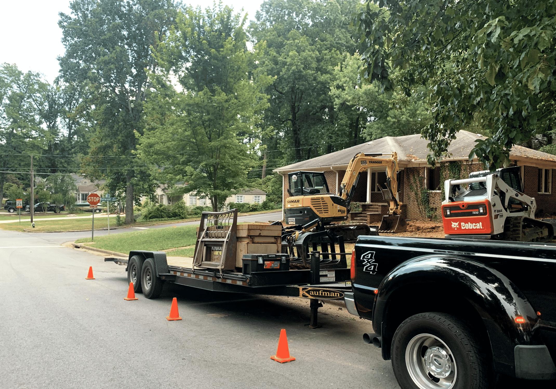 Hauling at Demolition Job site