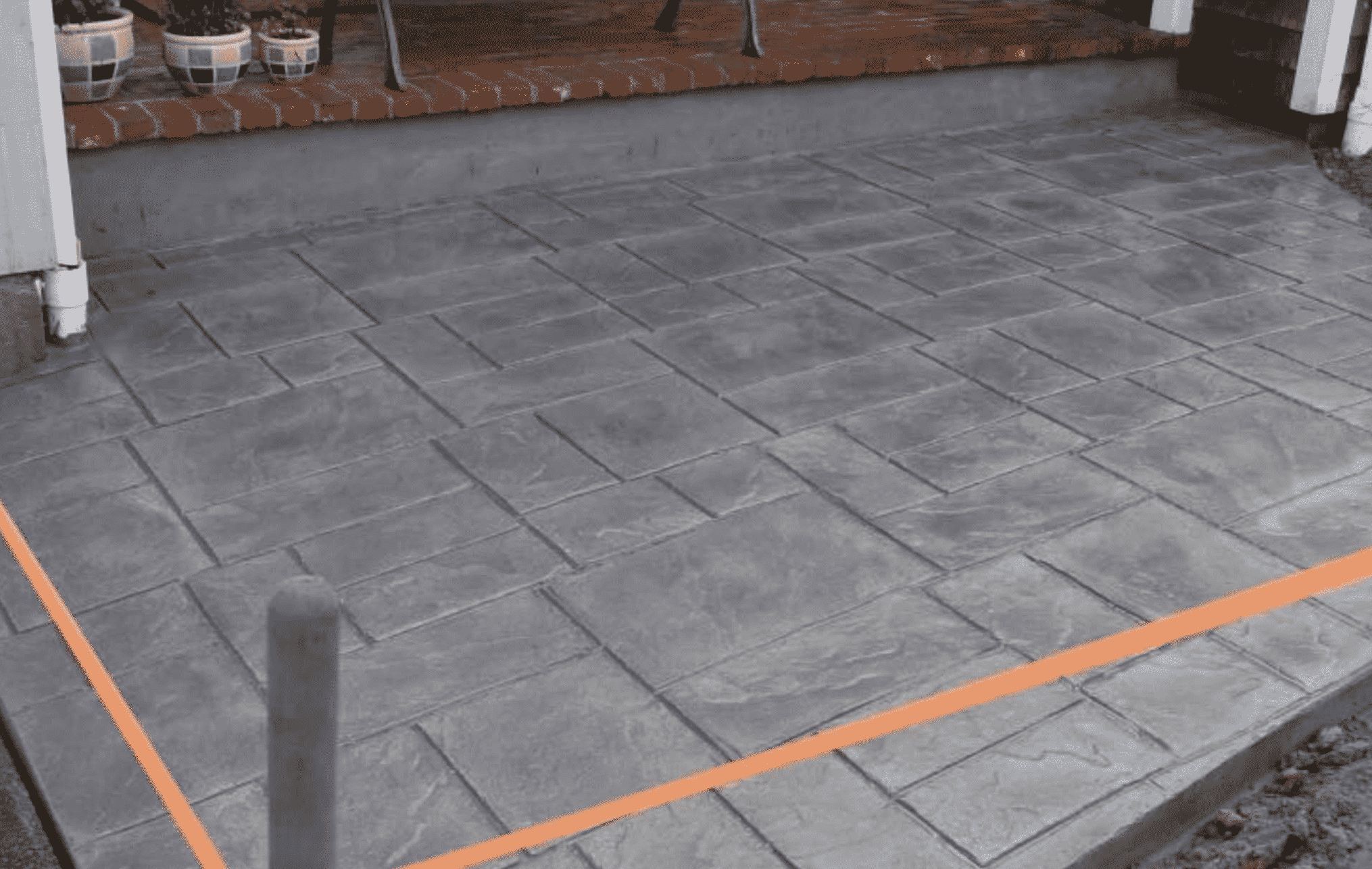Concrete Patio and Orange Tape