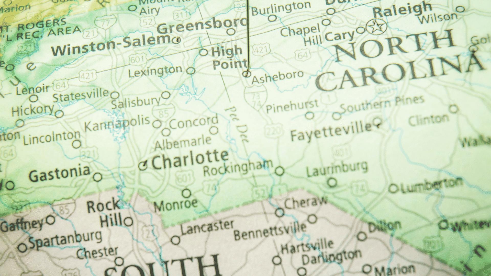 High Point North Carolina on Map